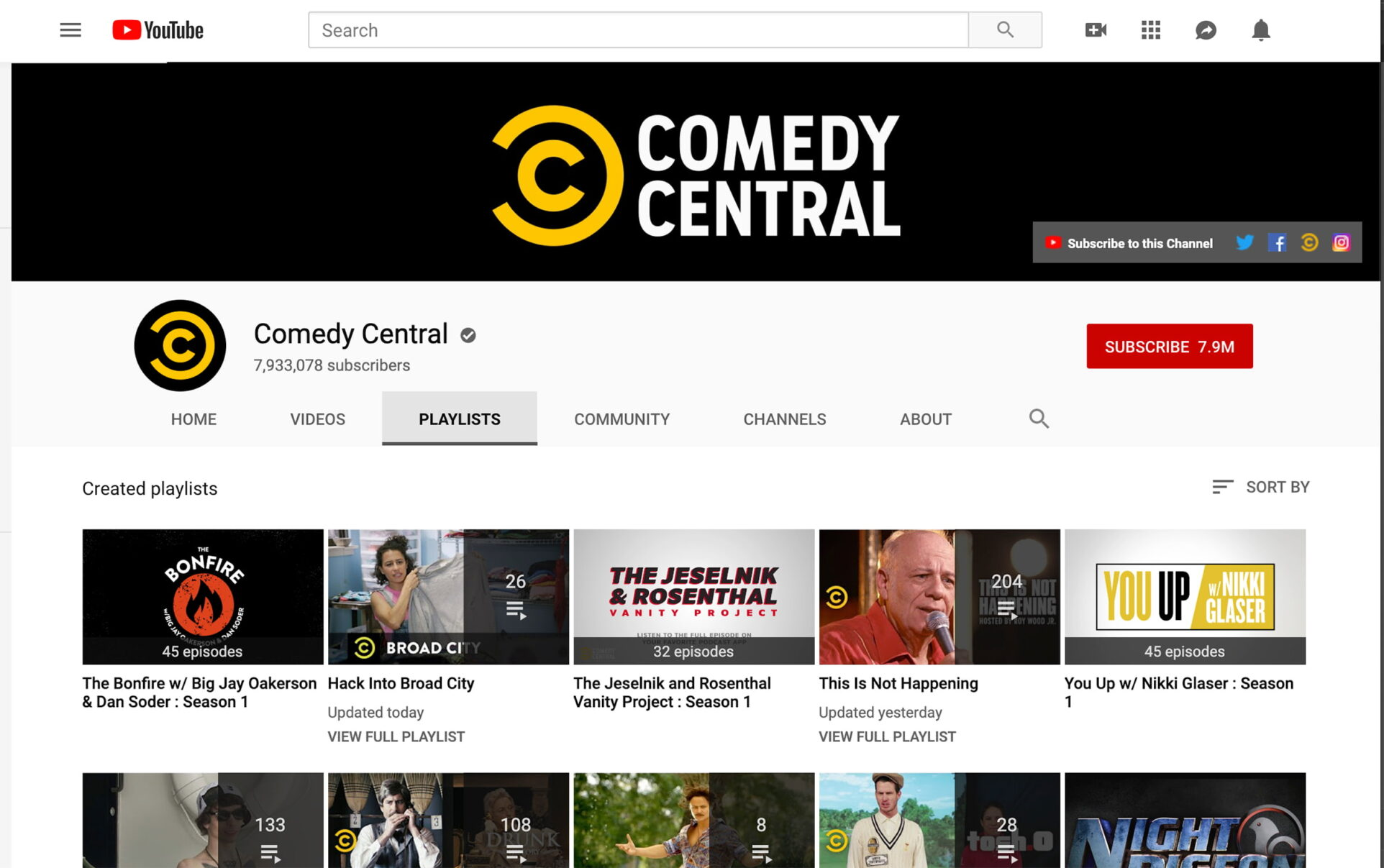 screenshot of Comedy Central's YouTube channel