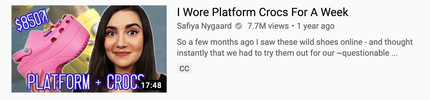 Screenshot from Safiya Naygaard's YouTube channel video listings