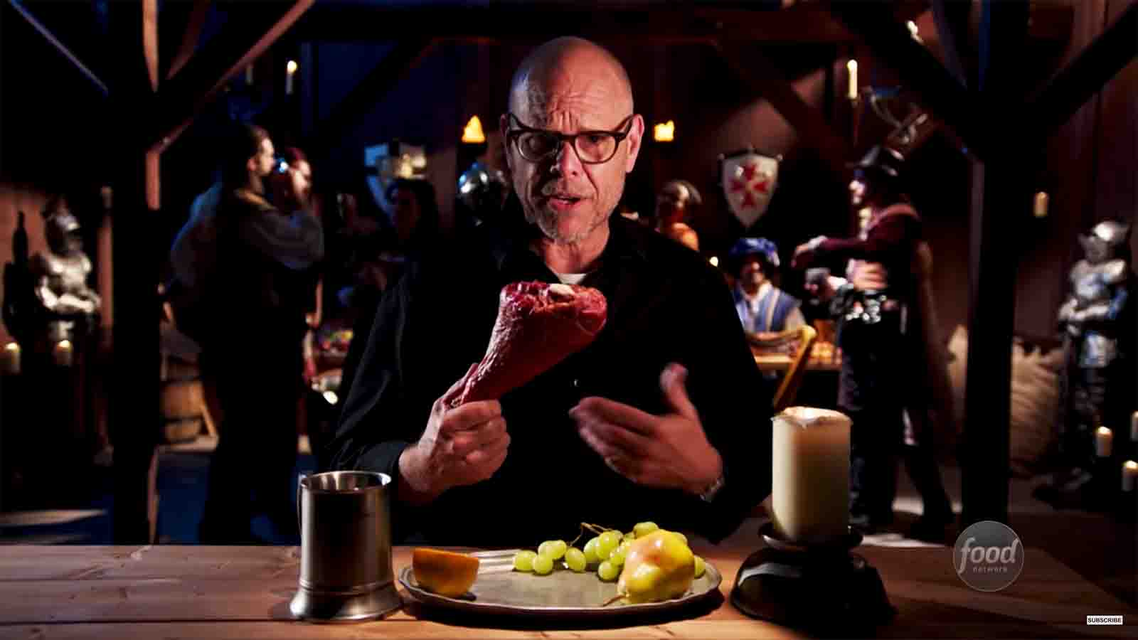 Alton Brown demonstrate how to cook a turkey on the Food Network