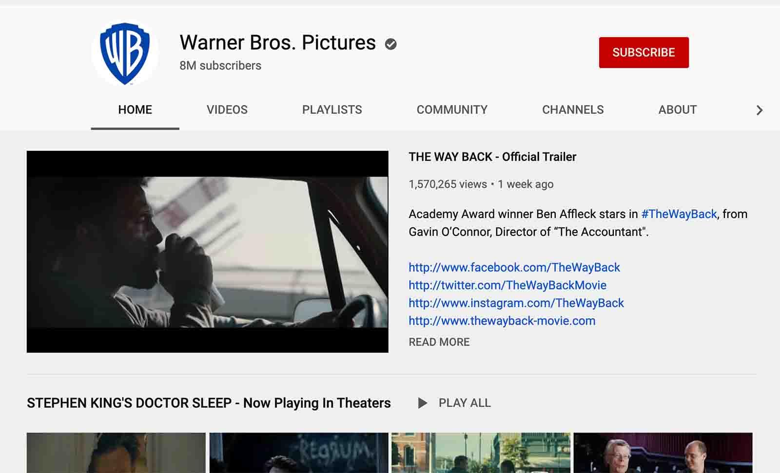 Warner Bro. YouTube channel